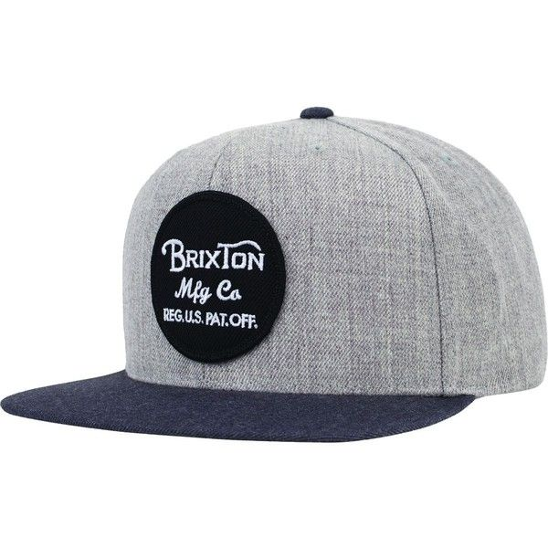 Brixton Wheeler Snapback Hat (105 BRL) ❤ liked on Polyvore featuring accessories, hats, snap back hats, snapback cap, brixton snapback, patch hat and brixton