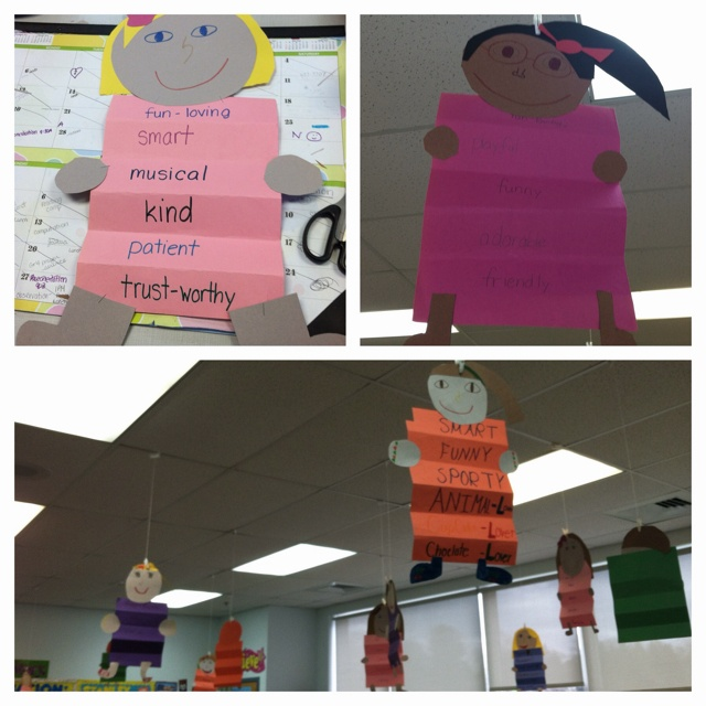 Adjective people. Students describe themselves using 6 adjectives and make themselves! (from The Mailbox!)
