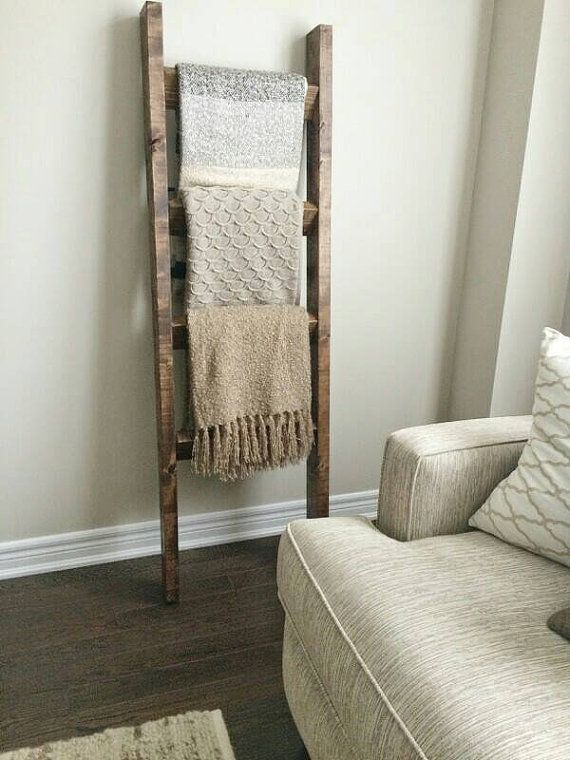 Rustic Wood Blanket Ladder