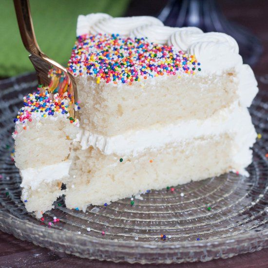 Perfect white cake! No shortening or artificial ingredients, but you still get a moist white cake with perfect crumb.