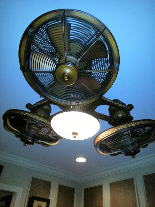 Industrial ceiling fan.  Sign me up!!  Because I DO need 3 fans blowing on me at all times!!!