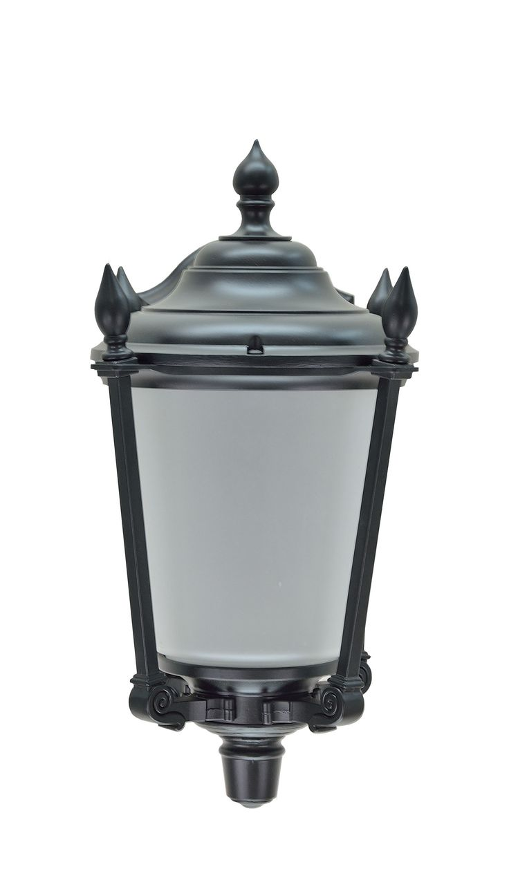 """# 60007 1 Light Medium Outdoor Wall Light Fixture, Dusk to Dawn Sensor in Transitional Design, in a Black Finish with Frosted Glass, 14 1/4"""" High"""