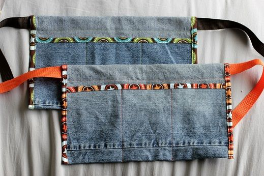 tool belt with jean scraps -- I don't care for the trim, but I could do something else.  So cute with a flashlight and measuring tape!