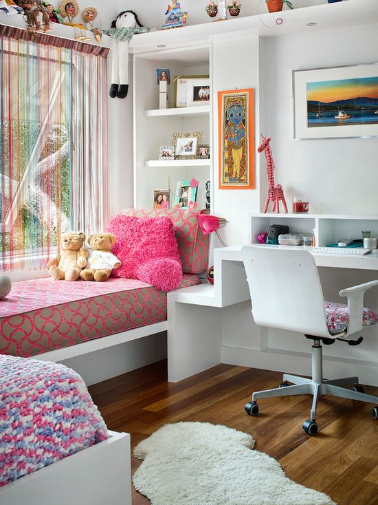 Mid Sized Trendy Kids Room Photo For Girls In Austin With White Walls And  Medium Tone Hardwood Floors Mdash Nbsp Part 95