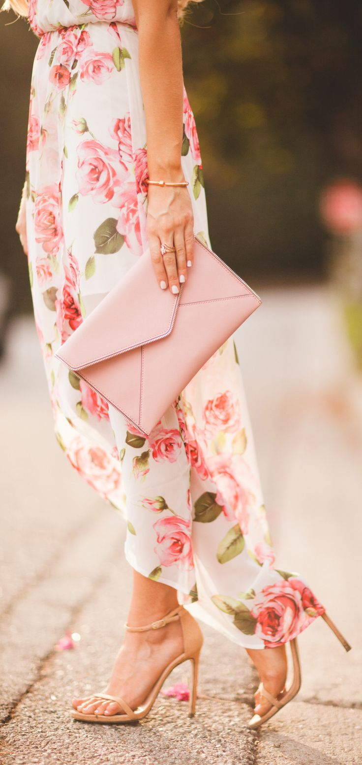 Rose maxi dress with pink envelope clutch