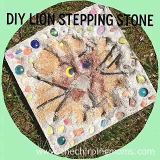 #DIY Lion Stepping Stone: Fun project for kids to help with this summer! #summerofjoann @The Chirping Moms