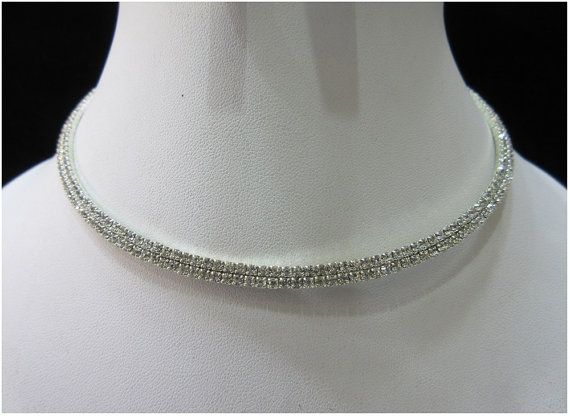 Beautiful Stone Studded Rhodium Plated Silver Neck by BeautyShop21
