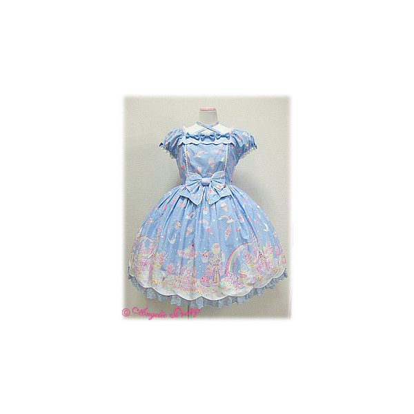 Milky Planet OP ❤ liked on Polyvore featuring dresses, lolita, angelic pretty, milky planet, ap, blue dress, galaxy dress, nebula dress, cosmic dress and planet dresses