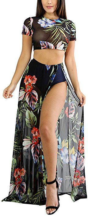 d9ac7cbdc3 Aro Lora Women's Sexy Floral Print Mesh High Side Slit Two-Piece Maxi Dress  X-Large Black at Amazon Women's Clothing store: