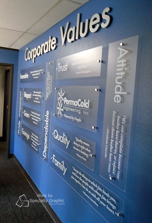company office design. corporate values display for permacold portland orjpg company office design