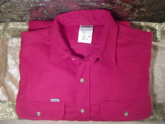 Mens Vintage Carhartt Red Flannel Shirt Size Large Regular Long Sleeve by LandofBridget
