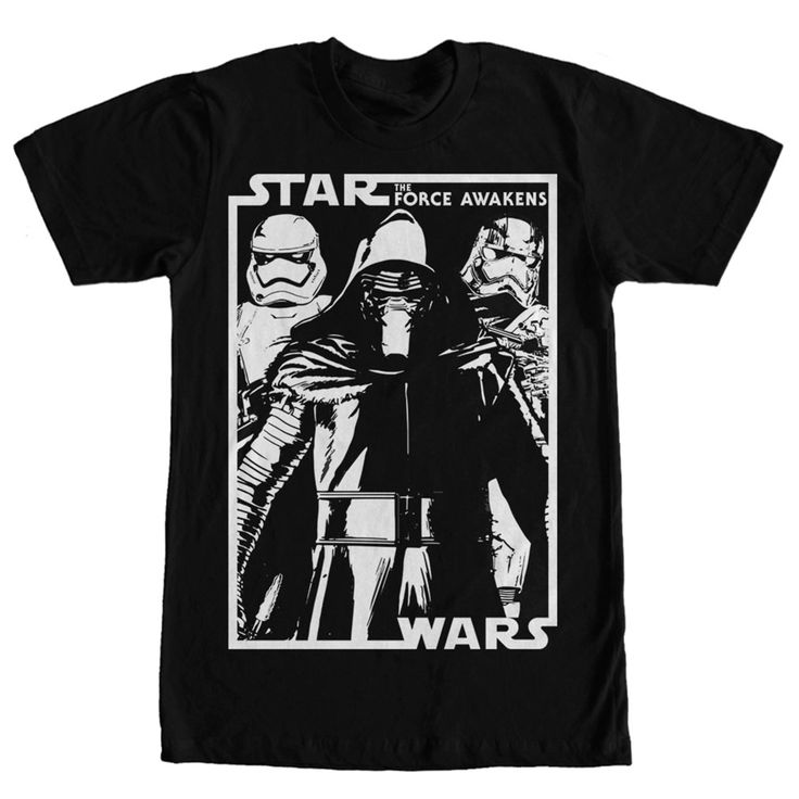 Printed Join the first with the Star Wars Kylo Ren and Crew Black T-Shirt!  A white print on the front of this epic black Star Wars Episode 7 t-shirt  shows ...