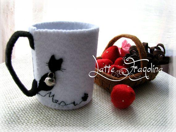 tazzina da caffè  gatto nero di LatteFragolina su Etsy, €6.00