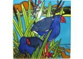 NZ Art Ceramic Tiles - Pukekos in Flax - 15 x 15cm - Wildside Gifts