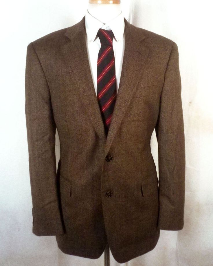 euc Nautica brown 100% Wool Tweed Herringbone Blazer Sportcoat sz 40 R #Nautica #TwoButton