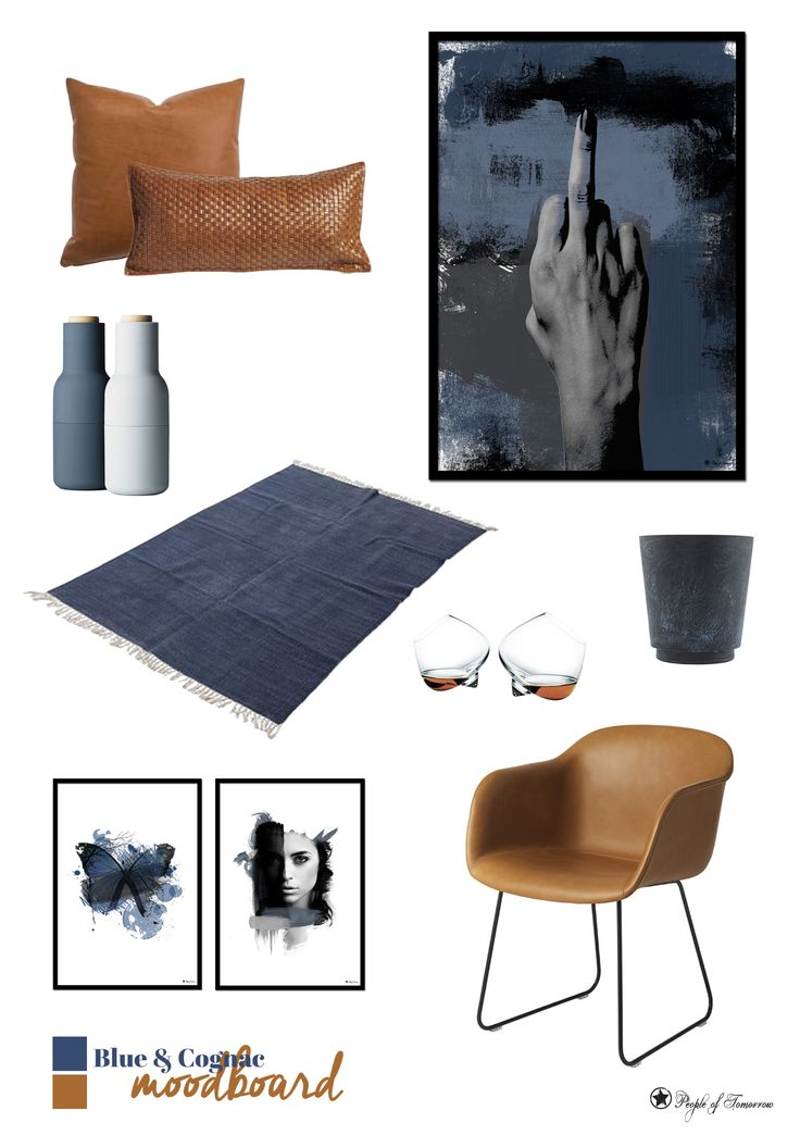 Blue & Cognac // Blue Mood, Blue Butterfly and Lust art prints by www.peopleoftomorrow.no
