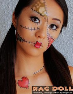 47 best rag doll tattoos images on pinterest doll tattoo for Halloween makeup tattoos