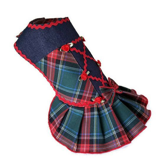 Small dog outfit dress Dress for a dog Dog dresses Small dog #smalldogfashion #dogclothes #dogdresses #petdoglover #tartan  #dressing #smalldog