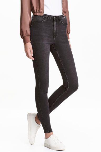 Super Skinny High Jeans - Zwart washed out - DAMES   H&M NL 1