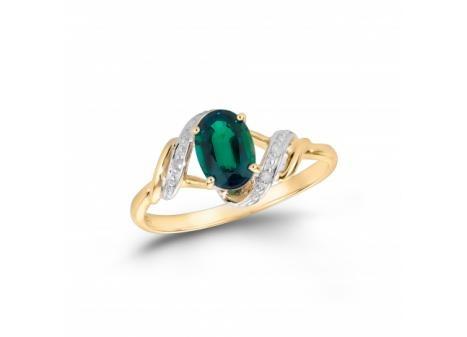 Stunning 10K Yellow #Gold Created #Emerald and #Diamond #Ring $199.99