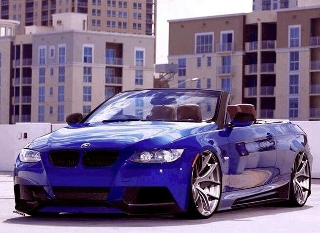 Bmw E93 335i Cabrio Blue With Massive Rims Bmw