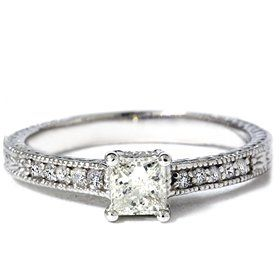 .50CT Princess Cut Antique Hand Engraved Diamond Ring --- http://www.pinterest.com.gp1.me/2n6