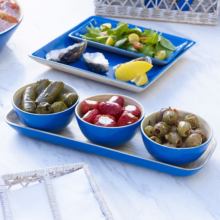 Byron Bamboo Condiment tray and set of 3 bowls, Mediterranean Blue $49.95 shop it here http://www.oasishomewares.com/host-a-party/book-an-Oasis-party.html