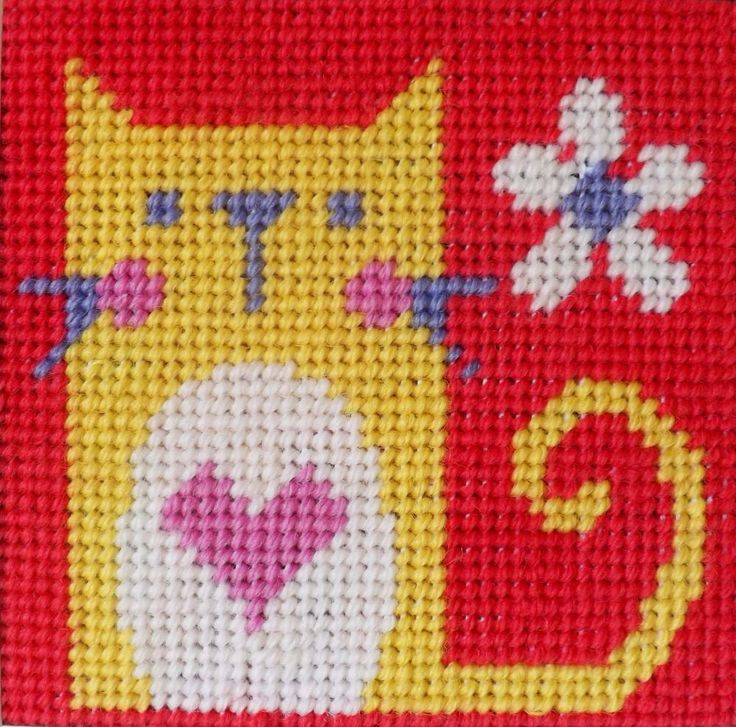"Cat Tapestry (KTKC147)   Fun children's tapestry kit designed by 'The Stitching Shed'.   Contents: 10 count colour printed tapestry canvas, anchor wools, needle, graph and full instructions.  Comes packaged in a white rope handled gift bag.   Size: 4.5"" x 4.5""   For ages 7+   DELIVERY *Usually dispatched within 5 working days from our supplier*    See our full range of kits for beginners"