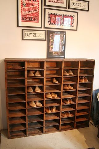 vintage shoe storage that may actually hold all of our shoes!