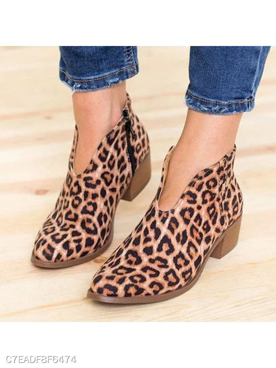 432c7c599f194 Plain Chunky Velvet Point Toe Casual Outdoor Ankle Ankle Boots in 2019