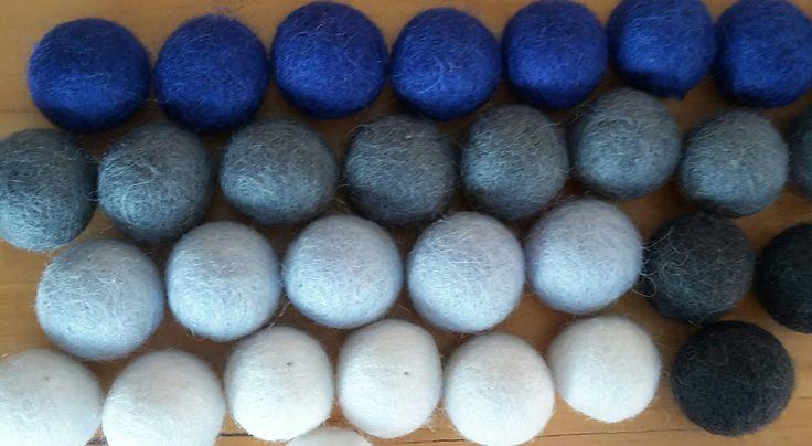 Wool felt balls,  fabulous colours together...