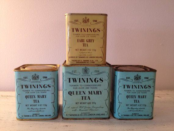 Vintage Twinings Tea Tins Aqua Twinings Tea Tin Mint
