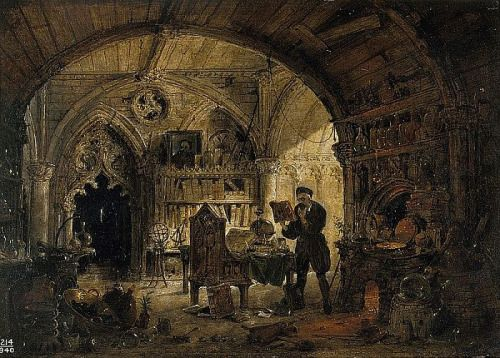 An Alchemist in His Laboratory, oil on wood by James Nasmyth, Scottish, 1808-1890.