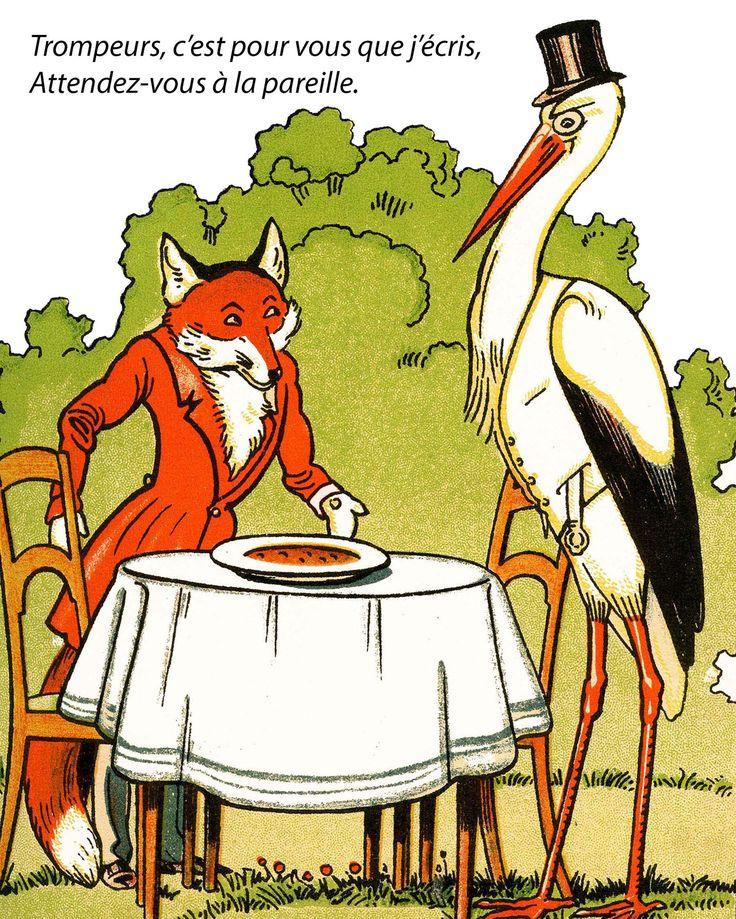 17 meilleures id es propos de fables de la fontaine sur - Dessin le renard et la cigogne ...