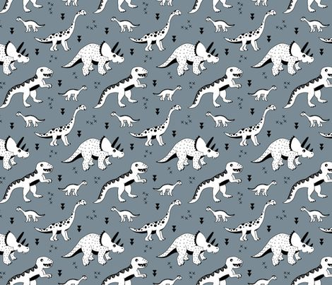 Cool Scandinavian kids dino friends dinosaur pattern stone gray blue fabric - surface design by Little Smilemakers on Spoonflower - custom fabric and wallpaper inspiration for kids clothes fun fashion and trendy home decorations. Print designs available for licensing.