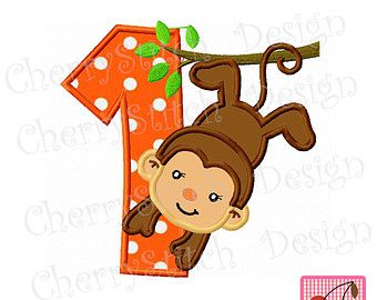 Birthday Monkey with Number 1-Digital embroidery applique -4x4 5x7 6x10-Machine Embroidery Applique Design