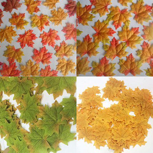 Hot Selling 100 Pcs Fall Fake Silk Leaves Wedding Favor Autumn Maple Leaf Wedding Decoration