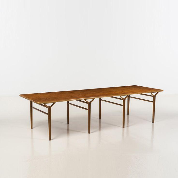 Peter Hvidt; Teak and Beech 'Ax' Table for Fritz Hansen, 1950.