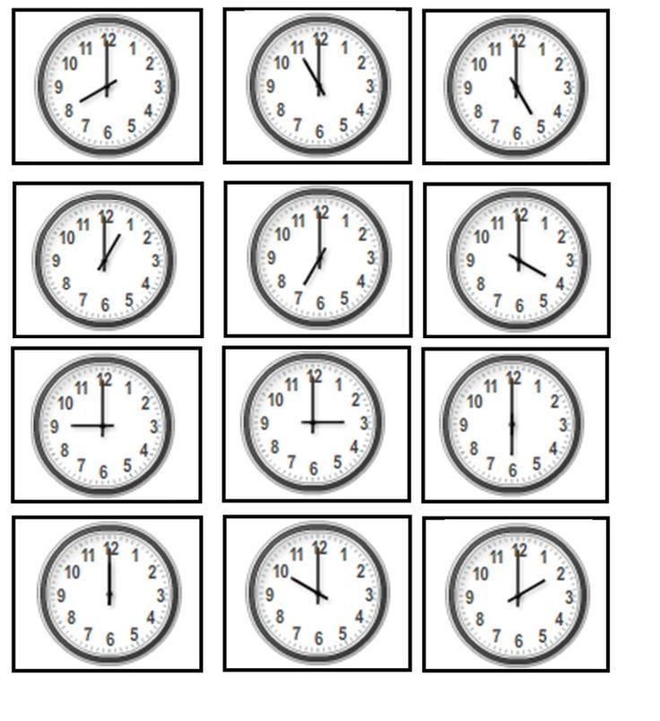 Klokkijken: hele uren (analoog)