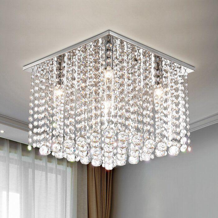 Iconium 5 Light 13 7 Unique Statement Square Flush Mount In 2020 Crystal Light Fixture Crystal Lighting Mercer41