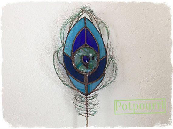 Peacock/home decor/tuin stekker / plug bloem / Tiffany technologie/gekleurd glas/glas Caboschon / handgemaakte originele