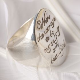 """Courage"" Engraved Oval Ring By Palas Jewellery $134.20"