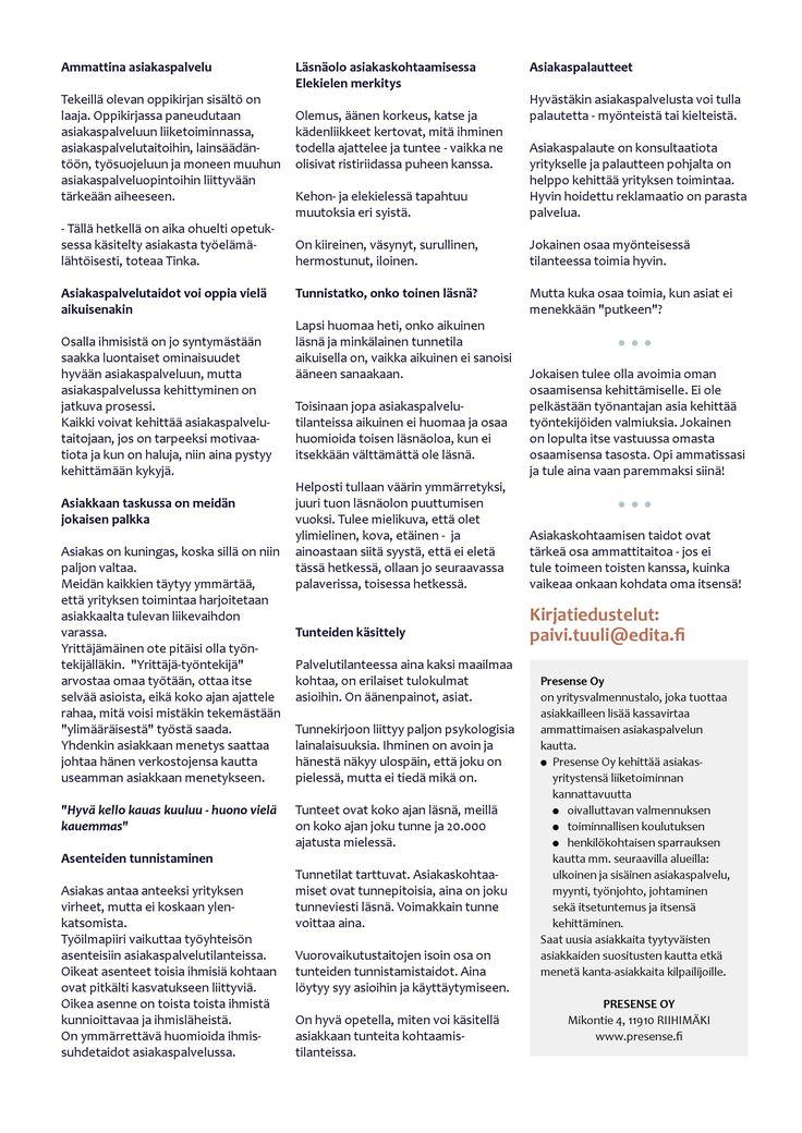 Merkonomin tutkinnon osa Asiakaspalvelu saa uuden oppikirjan - vuosien valmennus vihdoin yksiin kansiin! sivu 2/2
