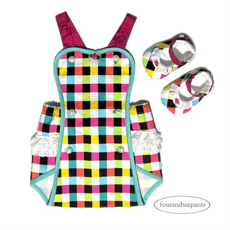 Playsuit & Shoes, 0-3mo Baby girl, multi-coloured check cotton, white lace