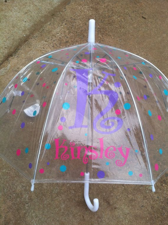 Children's Personalized Clear Dome Umbrella on Etsy, $20.00