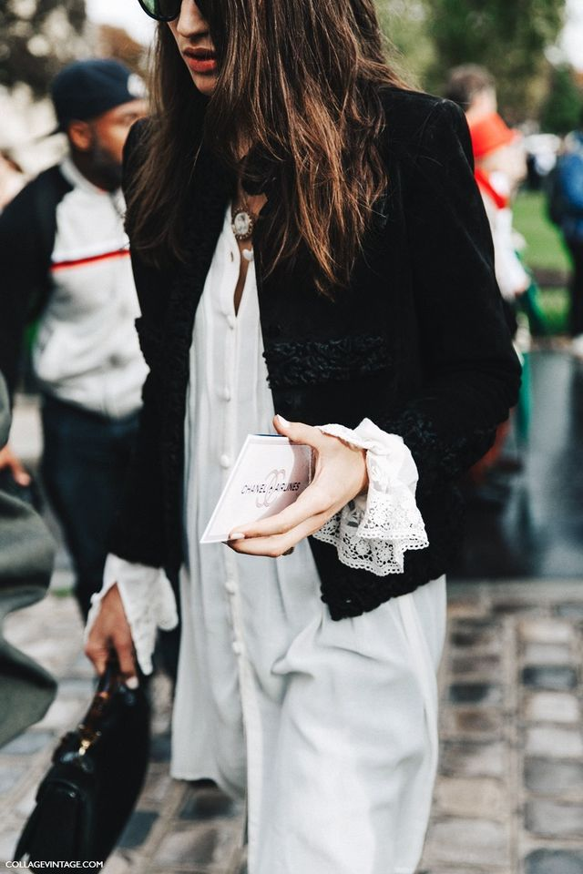 Paris Fashion Week Fashion and Street Style- black and white- lace cuffs- black coat & white shirt dress with lace cuff detail. Vintage meets modern- fashion and street style. Black and White.