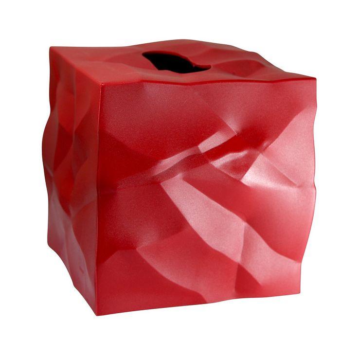 Essey Crinkle Tissue Box Dispenser - Red
