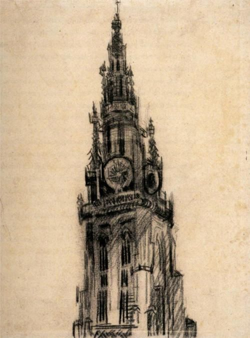 The Spire of the Church of Our Lady, 1885  Vincent van Gogh