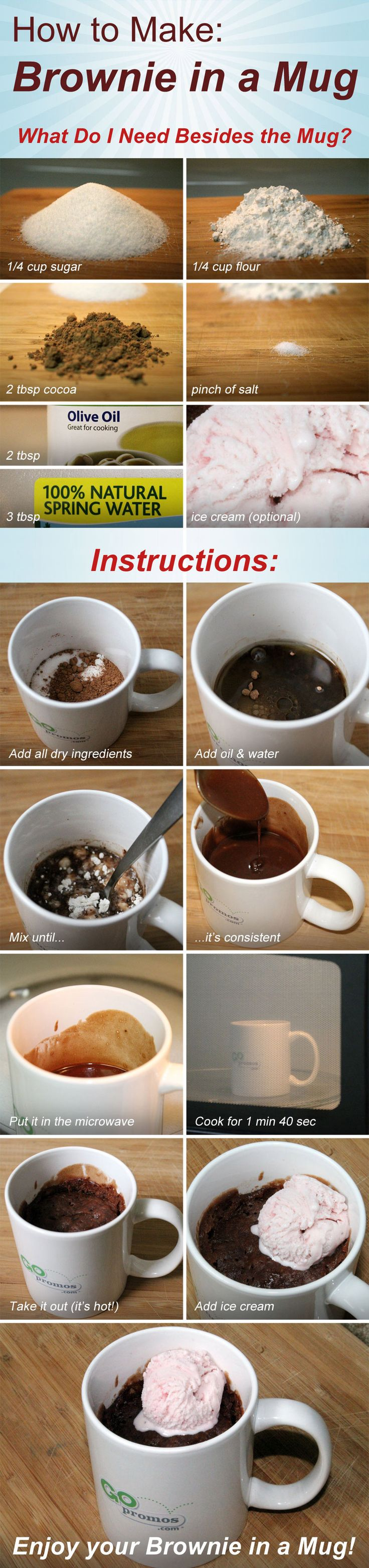 How to make a brownie in a mug!  -stevia instead of sugar; applesauce, pumpkin or banana instead of oil, even yogurt! :)  I would also do almond milk instead of the water  135 calories with almond milk and pumpkin