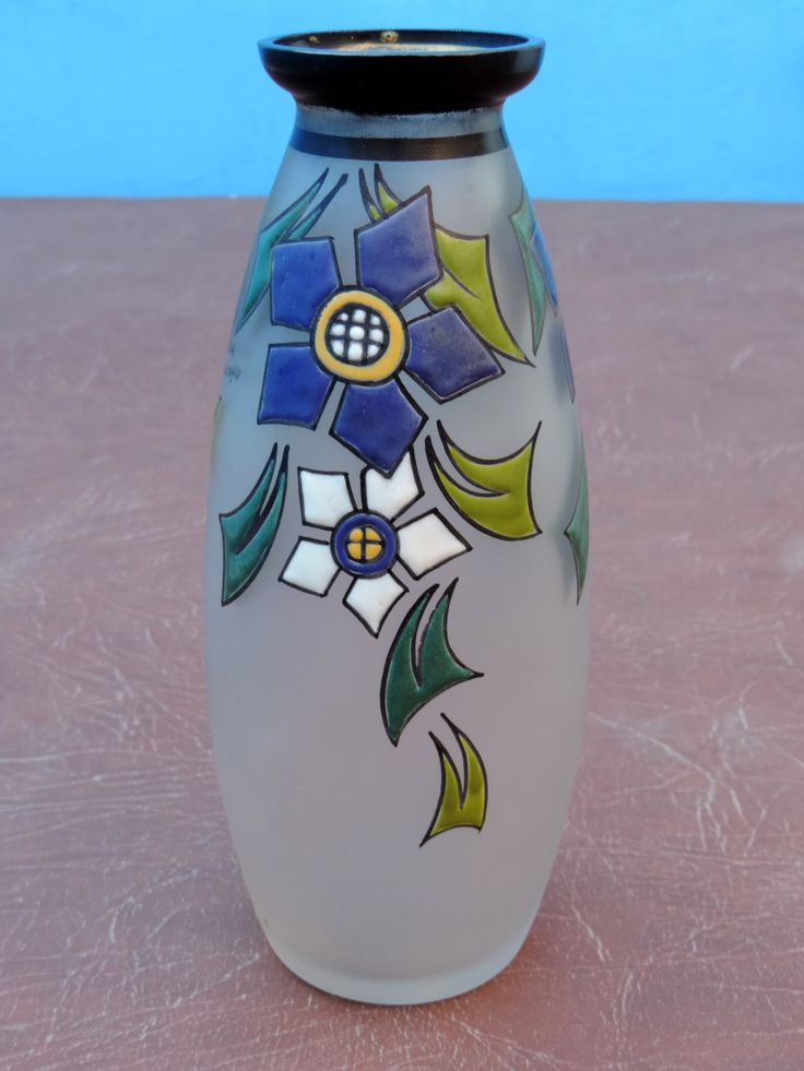 Art Deco glass vase with enemaled stylized flowers by Paul Bernard for GOBENA made in Belgium.